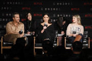 (LR) Ryan Reynolds., Adria Arjona and Mélanie Laurent attend the press conference for the world premiere of Netflix's '6 Underground' at Four Seasons Hotel on December 02, 2019 in Seoul, South Korea.