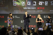 (LR) Adria Arjona, Ryan Reynolds and Mélanie Laurent attend the world premiere of Netflix's '6 Underground' at Dongdaemun Design Plaza on December 02, 2019 in Seoul, South Korea.
