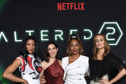 "Renee Elise Goldsberry, Lela Loren, Simone Missick and Dina Shihabi attend Netflix's ""Altered Carbon"" Season 2 Photo Call at AMC Lincoln Square Theater on February 24, 2020 in New York City."