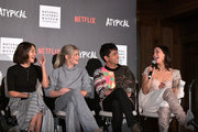 "(L-R) Amy Okuda, Jenna Boyd, Nik Dodani, and Fivel Stewart speak onstage during Netflix ""Atypical"" Season 3 special screening at Natural History Museum on October 28, 2019 in Los Angeles, California."