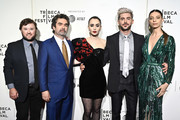 """(L-R) Haley Joel Osment, Director Joe Berlinger, Lily Collins and Zac Efron, and Angela Sarafyan attend Netflix's """"Extremely Wicked, Shockingly Evil and Vile"""" Tribeca Film Festival Premiere at BMCC Tribeca Performing Arts Center on May 02, 2019 in New York City."""