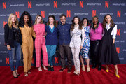 Shauna Duggins, Sydelle Noel, Betty Gilpin, Liz Flahive, Marc Maron, Jackie Tohn, Carly Mensch, Kia Stevens and Britt Baron attends the Netflix FYSEE Glow ATAS Official Red Carpet and Panel at Raleigh Studios on June 01, 2019 in Los Angeles, California.
