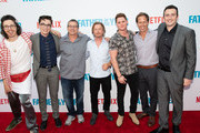 "(L-R) Bill Kottkamp, Joey Bragg, Allen Covert, David Spade, Matt Shively, Nat Faxon and Tyler Spindel attend Netflix's ""Father Of The Year"" Special Screening at ArcLight Hollywood on July 19, 2018 in Hollywood, California."