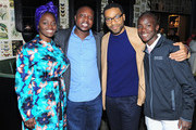 "(L-R)  Aissa Maiga, William Kamkwamba, Chiwetel Ejiofor, and Maxwell Simba attend the Netflix film ""The Boy Who Harnessed The Wind"" Sundance Film Festival Park City screening reception at Handle on January 26, 2019 in Park City, Utah."