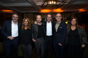 """(L-R) Vince Gilligan, Channing Dungey, Aaron Paul, Bryan Cranston, Peter Friedlander and Alison Engel attend the after party for the World Premiere of """"El Camino: A Breaking Bad Movie"""" at Baltaire Restaurant on October 07, 2019 in Los Angeles, California."""