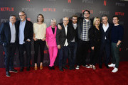 "Netflix's Ted Sarandos, Exec Producer/Director David Fincher,  Anna Torv, Jennifer Starzyk, Steve Arnold, Erik Messerschmidt, Cameron Britton  Laray Mayfield, Holt McCallany, Jonathan Groff attend Netflix's ""Mindhunter"" FYC Event at Netflix FYSEE At Raleigh Studios on June 1, 2018 in Los Angeles, California."