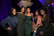 "Robinne Lee, Gabrielle Union, Sanaa Lathan, Lashontae Heckard and Camille Guaty attend the afterparty for  a screening of  Netlfix's ""Nappily Ever After"" at Teddy's on September 20, 2018 in Los Angeles, California."