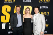 (L-R) Peter Berg, Iliza Shlesinger, and Mark Wahlberg attend the Netflix Premiere Spenser Confidential at Westwood Village Theatre on February 27, 2020 in Westwood, California.