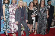 "(L-R) Tina Fey, Maya Rudolph, Amy Poehler, Paula Pell, Rachel Dratch, Ana Gasteyer, Emily Spivey and Jason Schwartzman attend the Netflix Premiere of ""Wine Country"" on May 08, 2019 in New York City."