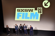 "(L-R) Janet Pierson, Judd Apatow, Paul Rust, John Lee and Paul Reubens attend Netflix presents the world premiere of ""Pee-wee's Big Holiday"" at SXSW March 17, 2016 in Austin, Texas."