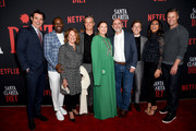 "Goran Visnjic, Malcolm Barrett, Linda Lavin, Timothy Olyphant, Drew Barrymore, Showrunner/Executive Producer Victor Fresco, Skyler Gisondo, Sydney Park and Eric Nenninger attends Netflix's ""Santa Clarita Diet"" Season 3 Premiere at Hollywood Post 43 on March 28, 2019 in Los Angeles, California."