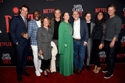 "(L-R) Goran Visnjic, Malcolm Barrett, Linda Lavin, Timothy Olyphant, Drew Barrymore, Showrunner/Executive Producer Victor Fresco, Skyler Gisondo, Sydney Park and Eric Nenninger attends Netflix's ""Santa Clarita Diet"" Season 3 Premiere at Hollywood Post 43 on March 28, 2019 in Los Angeles, California."