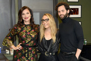 "(L-R) Sera Gamble, moderator Caroline Kepnes and Penn Badgley attend the Netflix's ""You"" screening & conversation at the 92nd Street Y on January 08, 2020 in New York City."