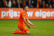 Robin van Persie of the Netherlands reacts during the UEFA EURO 2016 qualifying Group A match between the Netherlands and the Czech Republic at Amsterdam Arena on October 13, 2015 in Amsterdam, Netherlands.