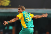 Imran Tahir of South Africa celebrates the wicket ofBerend Westdijk of the Netherlands after he bowled him LBW during the 2011 ICC World Cup Group B match between Netherlands and South Africa at Punjab Cricket Association Stadium on March 3, 2011 in Mohali, India.