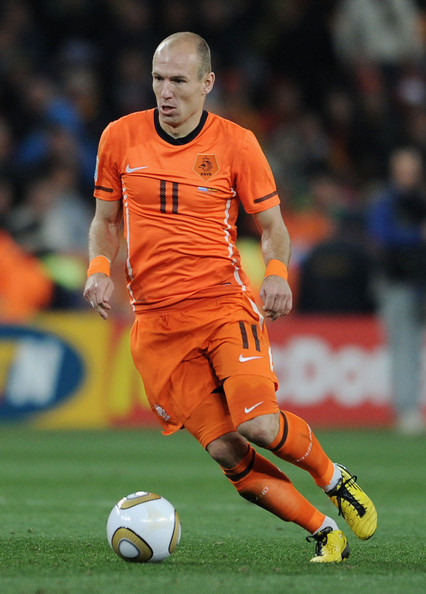 Arjen Robben Arjen Robben of the Netherlands in action during the 2010 FIFA World Cup South Africa Final match between Netherlands and Spain at Soccer City Stadium on July 11, 2010 in Johannesburg, South Africa.