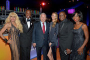 (L-R)  Musicians Shelly Clark, Verdine White of Earth, Wind & Fire, owner of the New England Patriots Robert Kraft, actress Ricki Lander, Philip Bailey of Earth, Wind & Fire and Krystal Bailey attend Neuro at the 24th Annual Elton John AIDS Foundation's Oscar Viewing Party at The City of West Hollywood Park on February 28, 2016 in West Hollywood, California.