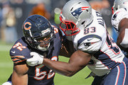 Khalil Mack #52 of the Chicago Bears rushes against Dwayne Allen #83 of the New England Patriots at Soldier Field on October 21, 2018 in Chicago, Illinois. The Patriots defeated the Bears 38-31.