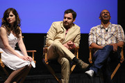 (L-R) Actors Zooey Deschanel, Jake Johnson, and Damon Wayans Jr. speak onstage at the 'New Girl' Season 3 Finale Screening and cast Q&A at Zanuck Theater at 20th Century Fox Lot on May 8, 2014 in Los Angeles, California.