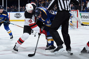 Travis Zajac #19 of the New Jersey Devils faces off against Alexander Steen #20 of the St. Louis Blues at Scottrade Center on January 2, 2018 in St. Louis, Missouri.