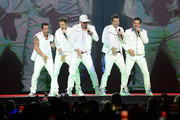Danny Wood, Joey McIntyre, Donnie Wahlberg, Jonathan Knight and Jordan Knight of the musical group New Kids On The Block perform at Bridgestone Arena on May 09, 2019 in Nashville, Tennessee.