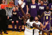 LeBron James #23 of the Los Angeles Lakers goes for a layup against Julius Randle #30 of the New Orleans Pelicans during the first half at Staples Center on February 27, 2019 in Los Angeles, California. NOTE TO USER: User expressly acknowledges and agrees that, by downloading and or using this photograph, User is consenting to the terms and conditions of the Getty Images License Agreement.