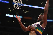 Julius Randle #30 of the New Orleans Pelicans goes for a layup against JaVale McGee #7 and LeBron James #23 of the Los Angeles Lakers during the first half at Staples Center on February 27, 2019 in Los Angeles, California. NOTE TO USER: User expressly acknowledges and agrees that, by downloading and or using this photograph, User is consenting to the terms and conditions of the Getty Images License Agreement.