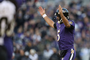 Quarterback Joe Flacco #5 of the Baltimore Ravens celebrates after throwing a touchdown in the third quarter against the New Orleans Saints at M&T Bank Stadium on October 21, 2018 in Baltimore, Maryland.