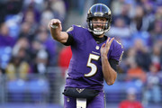 Quarterback Joe Flacco #5 of the Baltimore Ravens throws the ball in the third quarter against the New Orleans Saints at M&T Bank Stadium on October 21, 2018 in Baltimore, Maryland.