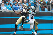 Charles Tillman #31 of the Carolina Panthers defends a pass to Brandon Coleman #16 of the New Orleans Saints during their game at Bank of America Stadium on September 27, 2015 in Charlotte, North Carolina.