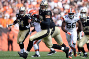 Jimmy Graham #80 of the New Orleans Saints carries the ball during the second quarter against the Cleveland Browns at FirstEnergy Stadium on September 14, 2014 in Cleveland, Ohio.