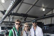 In this handout provided by FIA Formula E, Oliver Cheshire, Natalie Dormer and David Gandy visit the Jaguar Racing garage during the New York City ePrix, Round 11 of the 2017/18 FIA Formula E Series on July 14, 2018 in New York, United States.