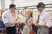 In this handout provided by FIA Formula E, James Barclay, Team Director, Jaguar Racing, meets Natalie Dormer and David Gandy during the New York City ePrix, Round 11 of the 2017/18 FIA Formula E Series on July 14, 2018 in New York, United States.