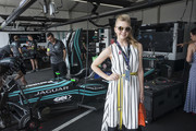 In this handout provided by FIA Formula E, Natalie Dormer visits the Jaguar Racing garage during the New York City ePrix, Round 11 of the 2017/18 FIA Formula E Series on July 14, 2018 in New York, United States.