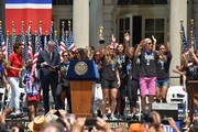 Robin Robbins and Mayor Bill de Blasio celebrate the World Cup Champions U.S. Women's Soccer National Team at a City Hall ceremony following a New York City Ticker Tape Parade on July 10, 2015 in New York City.