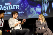 """Rhenzy Feliz, Gregg Sulkin, and Virginia Gardner speak onstage during the """"Marvel's Runaways"""" Panel at New York Comic Con 2019 - Day 2 at Hulu Theater at Madison Square Garden on October 04, 2019 in New York City."""