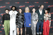 Sheila Vand, Daveed Diggs, Mickey Sumner, Steven Ogg, Alison Wright, Jennifer Connelly, and Lena Hall attends the Snowpiercer press line during New York Comic Con at Hammerstein Ballroom on October 05, 2019 in New York City.