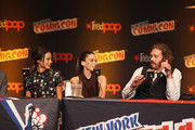 (L-R) Actors Jamie Chung, Genesis Rodriguez, and T.J. Miller attend Walt Disney Studios' 2014 New York Comic Con presentation of 'Big Hero 6' at the Javits Convention Center on Thursday October 9, 2014 in New York City.