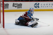Goaltender Jonathan Bernier #45 of the Colorado Avalanche streches prior to the game against the New York Islanders at the Pepsi Center on December 31, 2017 in Denver, Colorado. The Avalanche defeated the Islanders 6-1.