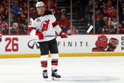 Michael Grabner #40 of the New Jersey Devils during a break in action against the New York Islanders during the first period at the Prudential Center on February 24, 2018 in Newark, New Jersey.