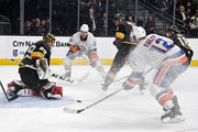 Marc-Andre Fleury #29 of the Vegas Golden Knights blocks a shot by Josh Bailey #12 of the New York Islanders in the third period of their game at T-Mobile Arena on January 25, 2018 in Las Vegas, Nevada. The Islanders won 2-1.