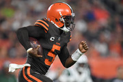 Tyrod Taylor #5 of the Cleveland Browns carries the ball during the first quarter against the New York Jets at FirstEnergy Stadium on September 20, 2018 in Cleveland, Ohio.