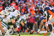 The New York Jets offense lines up behind center Wesley Johnson #76 of the New York Jets int he second quarter at Sports Authority Field at Mile High on December 10, 2017 in Denver, Colorado.