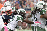 Chris Ivory #33 of the New York Jets carries the ball during the second quarter against the New England Patriots at Gillette Stadium on October 25, 2015 in Foxboro, Massachusetts.