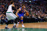 Robin Lopez #8 of the New York Knicks drives against Jared Sullinger #7 of the Boston Celtics during the second quarter at TD Garden on March 4, 2016 in Boston, Massachusetts.NOTE TO USER: User expressly acknowledges and agrees that, by downloading and/or using this photograph, user is consenting to the terms and conditions of the Getty Images License Agreement.