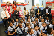 New York Mayor Bill de Blasio, along with (L-R) Schools Chancellor Carmen Farina, City Council Speaker Melissa Mark-Viverito, Manhattan Boro President Gale Brewer, Assemblyman Robert Rodriguez and Deputy Mayor Richard Buery, visits a second grade Spanish class at Amber Charter School in Manhattan on the first day of NYC public schools, September 4, 2014 in New York City. New York Mayor Bill de Blasio is touring universal pre-kindergarten programs throughout the city.