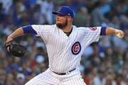 Starting pitcher Jon Lester #34 of the Chicago Cubs delivers the ball against the New York Mets at Wrigley Field on August 27, 2018 in Chicago, Illinois.