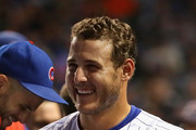 Anthony Rizzo #44 of the Chicago Cubs smiles at teammates after hitting a solo home run in the 8th inning against the New York Mets at Wrigley Field on August 27, 2018 in Chicago, Illinois. The Cubs defeated the Mets 7-4.