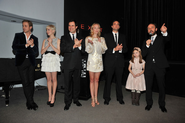 "(L-R) Actors Ryan Gosling and Michelle Williams with producers Jamie Patricof, Lynette Howell and Alex Orlovsky, actress Faith Wladyka and director Derek Cianfrance speak at the New York premiere of ""Blue Valentine"" hosted by Quintessentially at The Museum of Modern Art on December 7, 2010 in New York City."