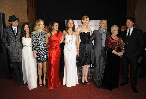 (L-R) Actors Daniel Day-Lewis, Fergie, Kate Hudson, Penelope Cruz, Marion Cotillard, Nicole Kidman, producer John DeLuca, Dame Judi Dench and director Rob Marshall attend the New York premiere of
